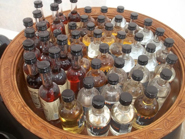 A selection of miniature spirit bottles at the Wine City at the Tbilisoba celebration