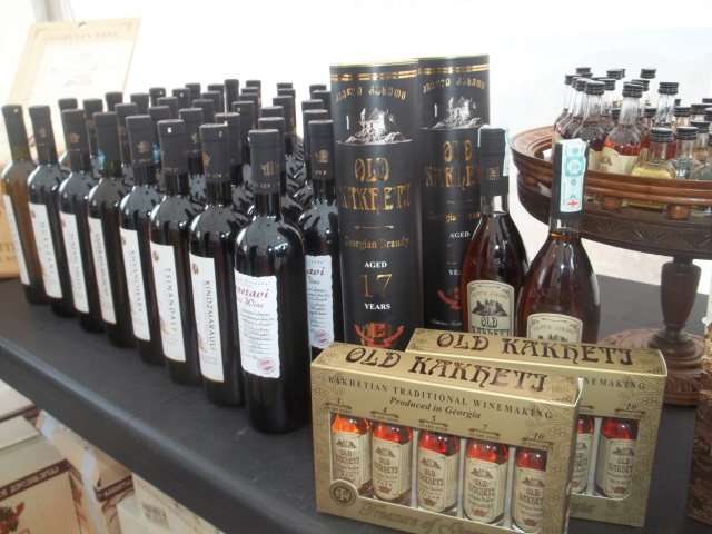 A selection of wine and brandy at Tbilisoba