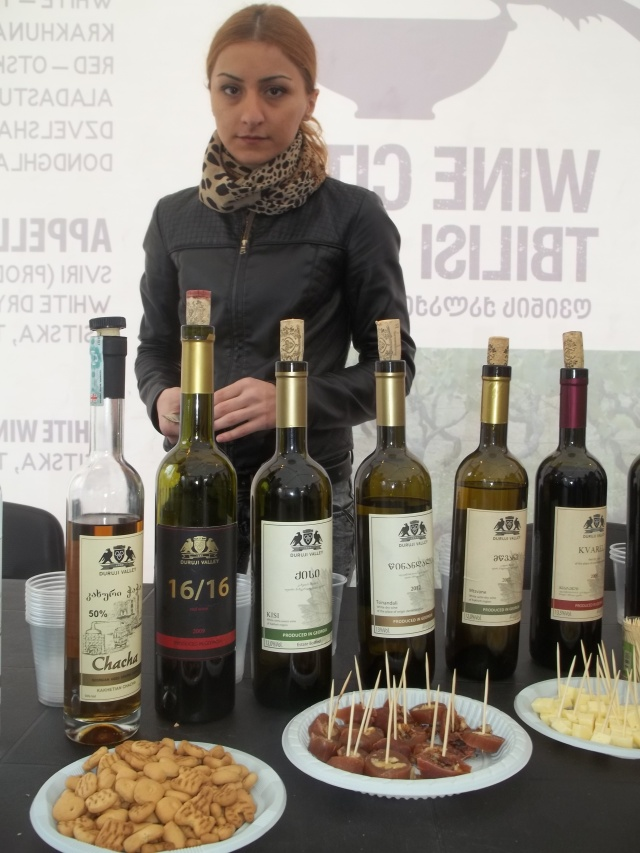 A selection of wine and chacha at Tbilisoba