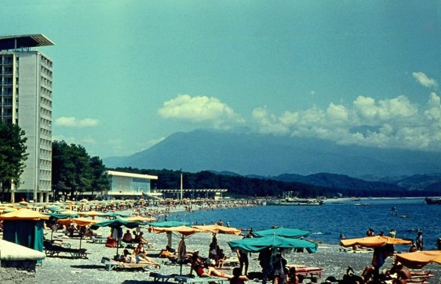 Holidaymakers in Batumi on Georgia's Black Sea coast in 1974