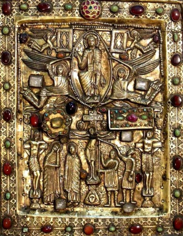 A jewel encrusted depiction of the Crucifixion and Ascension from the 11th century.