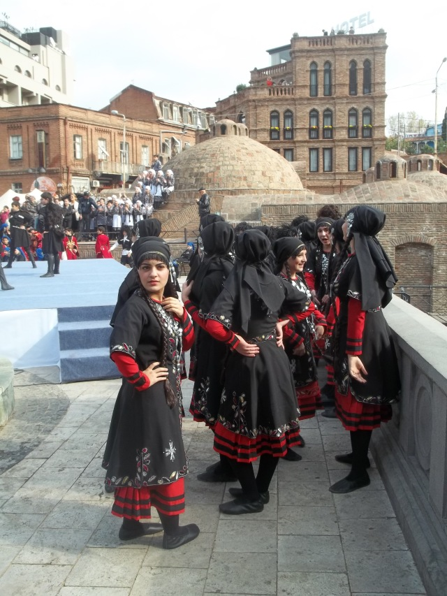 Young dancers waiting to perform at Tbilisoba 2014