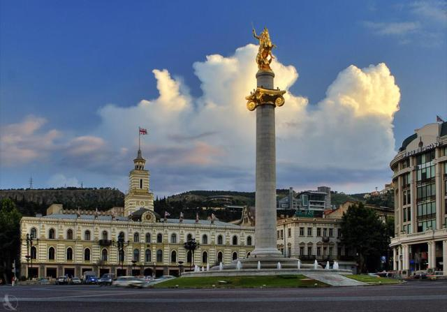 The St. George Statue in Freedom Square, Tbilisi. Photo by George Kvizhinadze via Wikimedia Commons.