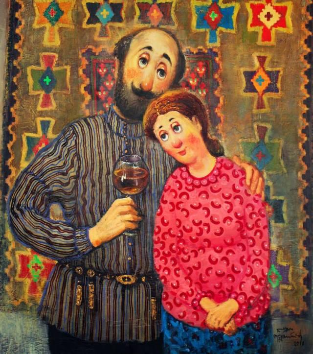 A loving couple by Georgian artist Lado Tevdoradze