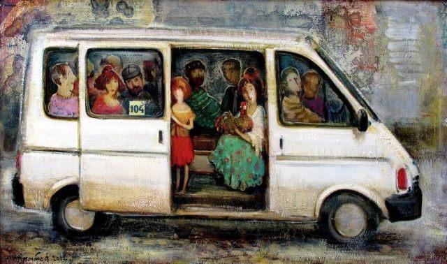 A minibus by Georgian artist Lado Tevdoradze