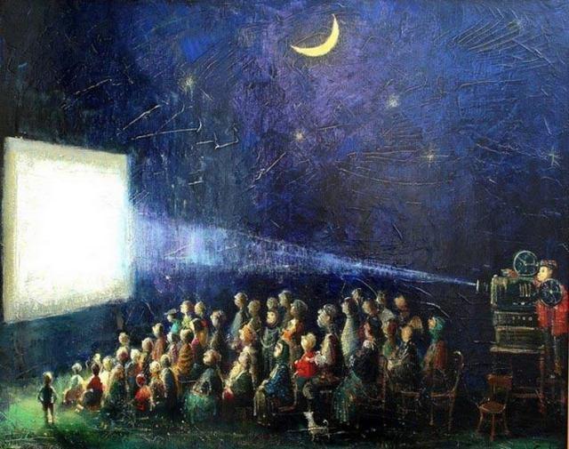 An outdoor cinema by Georgian artist Lado Tevdoradze