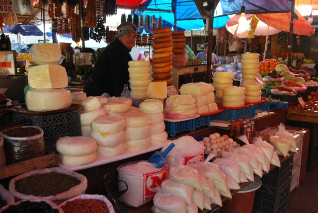Cheese, sugar, eggs and nuts at the Dezerter Bazaar