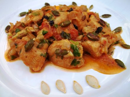 Chicken Chashushuli with Pumpkin Seeds