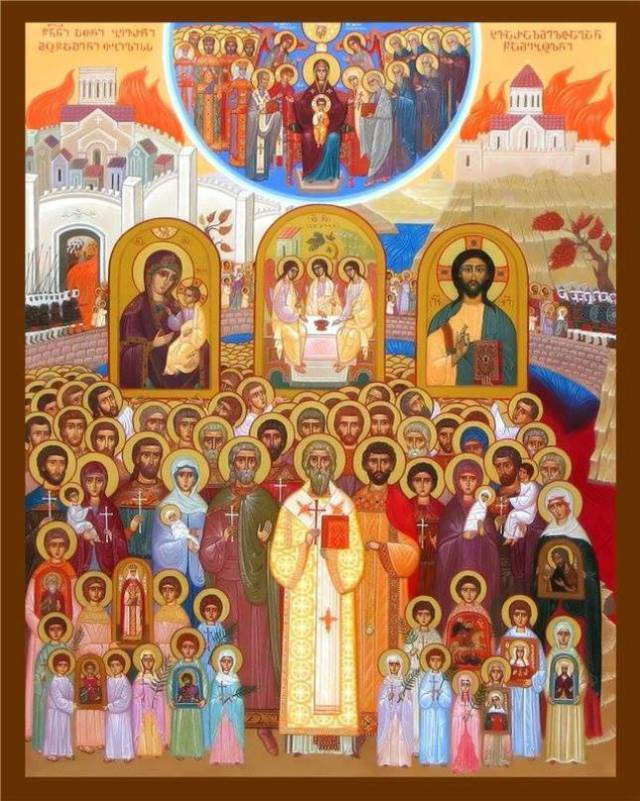 Icon depicting the Hundred Thousand Martyrs of Tbilisi