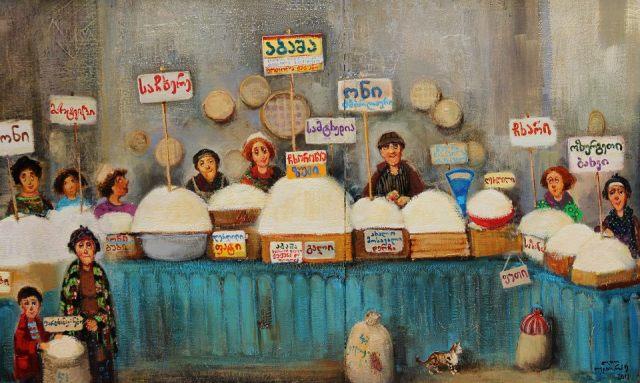 Georgian market painting by Georgian artist Lado Tevdoradze
