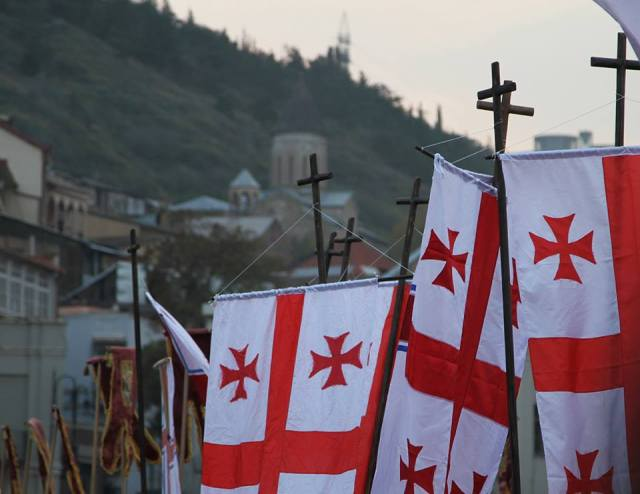 Procession in Tbilisi commemorating the Hundred Thousand Martyrs.