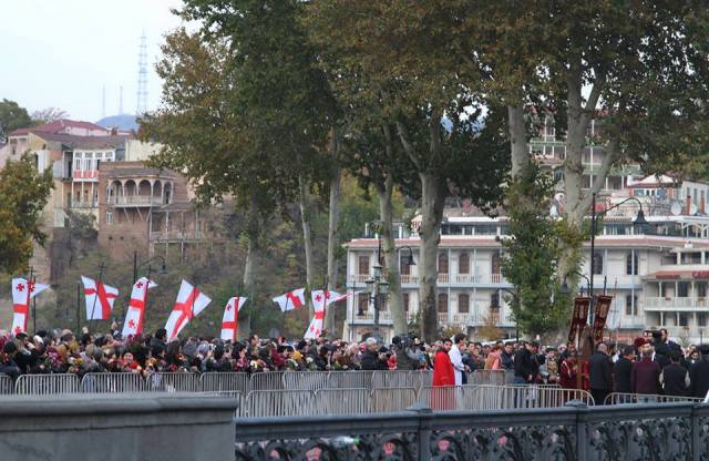 Procession on Metekhi Bridge in Tbilisi commemorating the Hundred Thousand Martyrs.