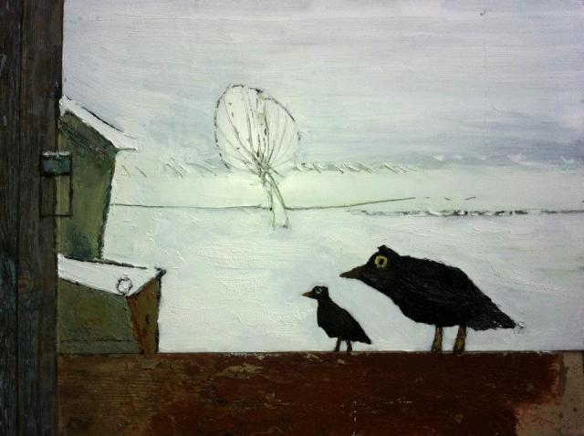 "Gogi Chagelishvili ""It's Winter"" oil on canvas and wood"