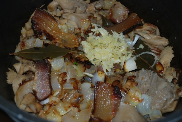 Adding Fried Bacon and Garlic