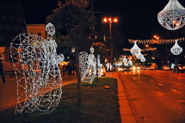 Christmas angels in Rustaveli Avenue in Tbilisi