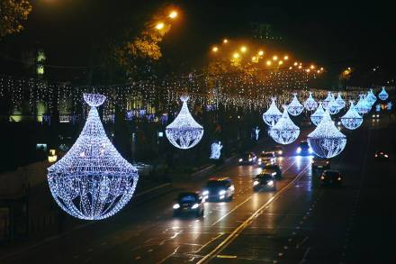 Christmas lights in Rustaveli Avenue in Tbilisi