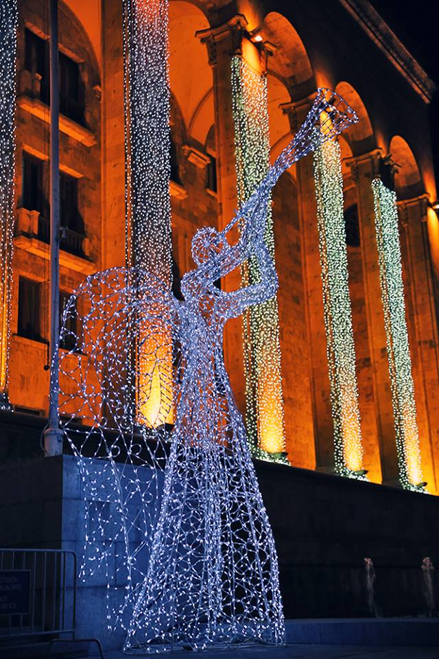 Christmas lights on the old Parliament building in Tbilisi