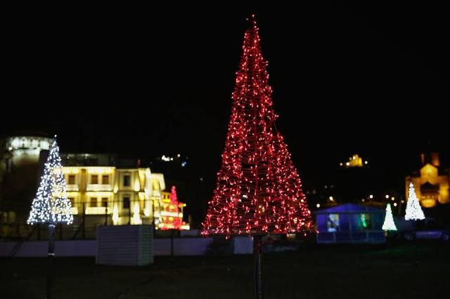Christmas tree decorations in Europe Square in Tbilisi