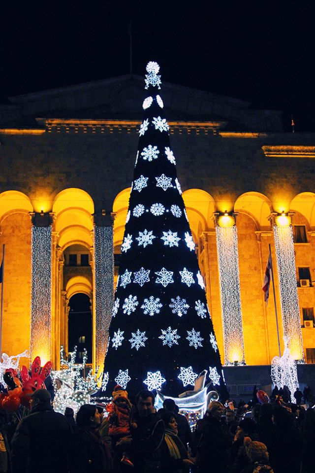 Christmas tree in front of the old Parliament building in Tbilisi
