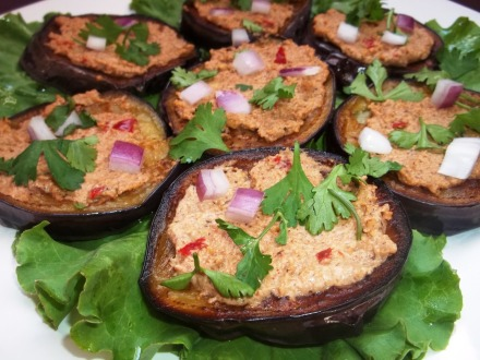 Eggplant with Walnuts and Red Ajika