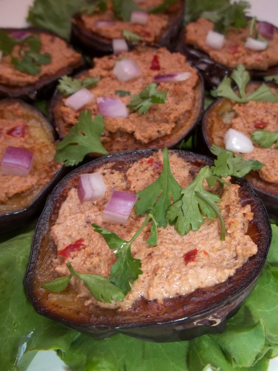 Eggplant with Walnuts and Red Ajika ready for serving