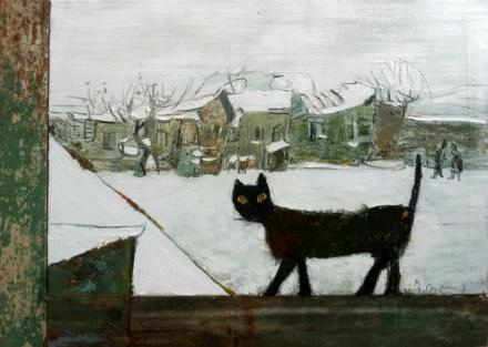 "Gogi Chagelishvili ""It's Winter"" oil on canvas and wood"