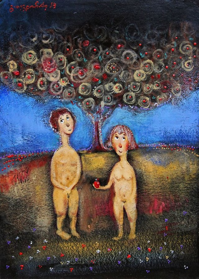 A painting of Adam and Eve by Guga Tevdoradze