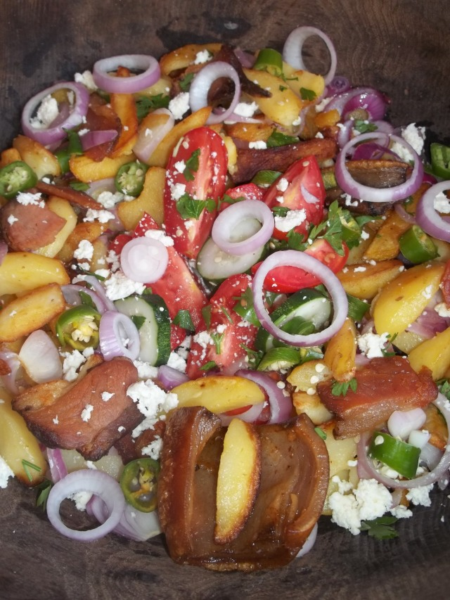 Ojakhuri with Rachuli Bacon and Salad ready for serving - Copy
