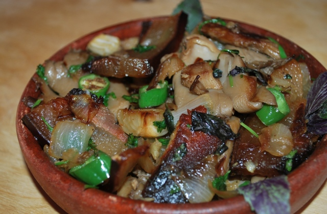 Oyster Mushrooms with Rachuli Bacon
