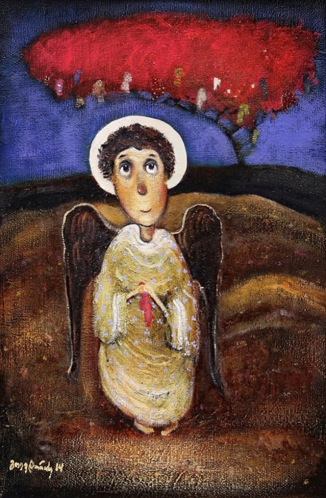 Painting of an angel by Guga Tevdoradze