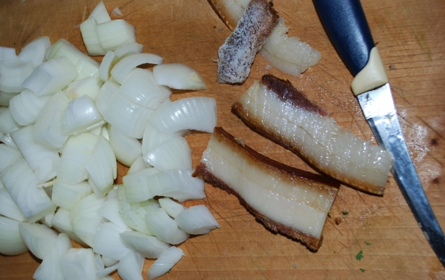 Preparing the Bacon and Onions