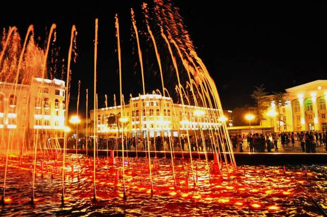The illuminated fountains in Rustavi