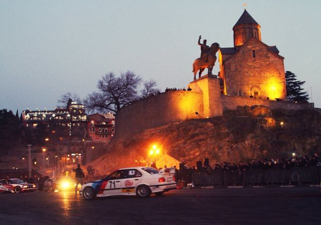 Drifting show on Metekhi Bridge in Tbilisi during the New Year