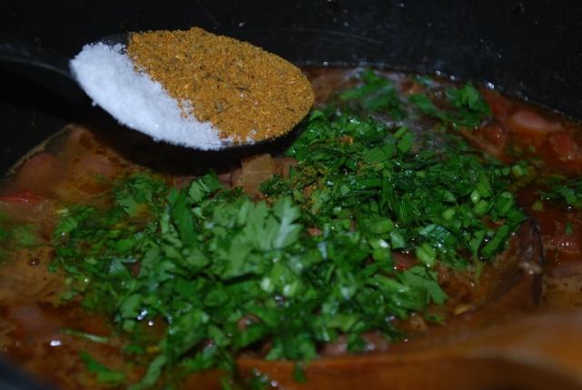 Adding Lobio Spices and Salt