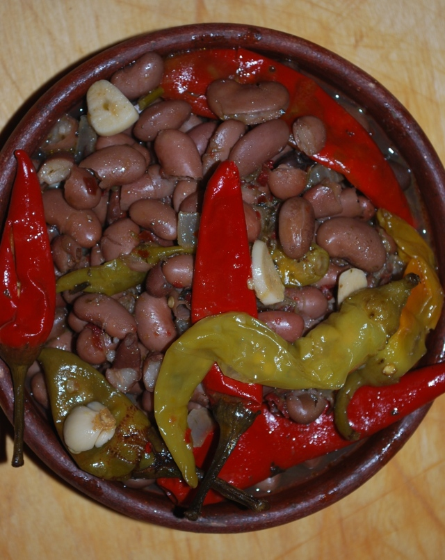 Lobio with Marinated Peppers ready for Serving