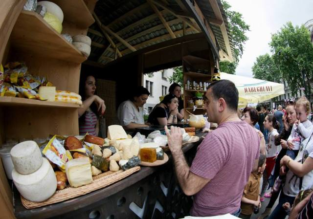 Georgian cheese display in Tbilisi on Independence Day. Photo courtesy of Georgian Government