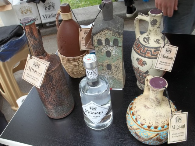 Ceramic wine bottles at the New Wine Festival 2015