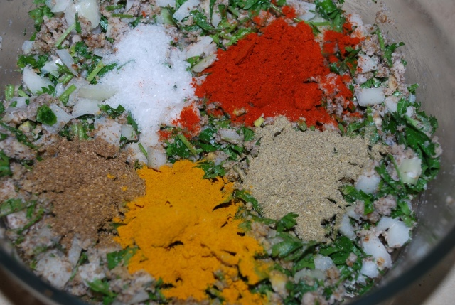 Adding spices and salt