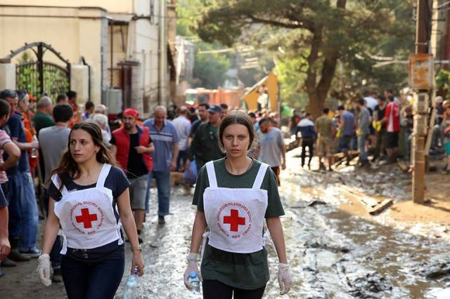 The Georgia Red Cross providing disaster relief in Tbilisi in the aftermath of the flood