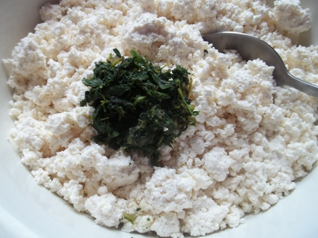 Add ground mint to cottage cheese