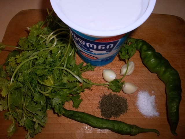 Ingredients for cold matsoni soup