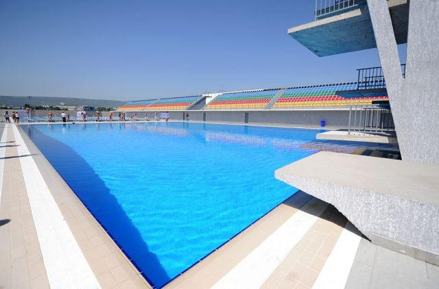 The newly built swimming pool at the New Tbilisi sports complex on the shores of Tbilisi Sea