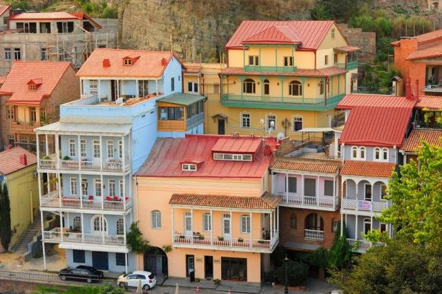 Pastel colored houses and balconies of Tbilisi's Old Town