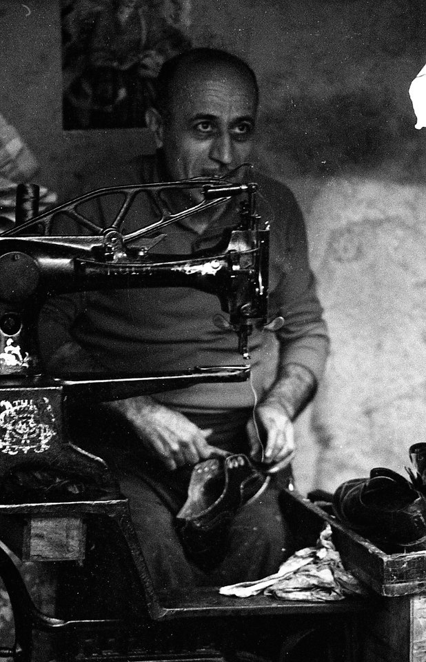 A cobbler at work in Tbilisi in 1976