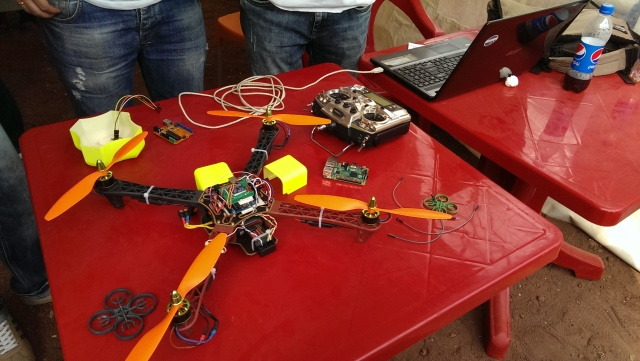 A drone made by students on display at the Scientific Picnic at Vake Park in Tbilisi