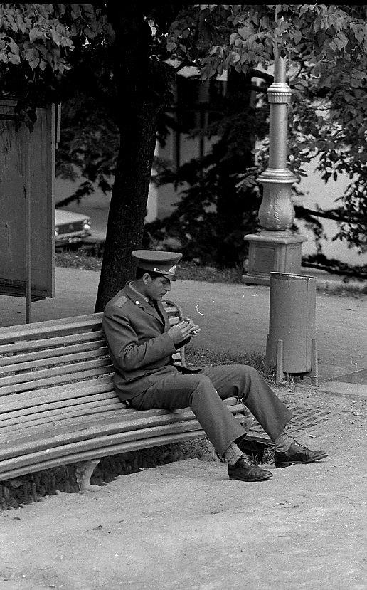 A policeman taking a break in Tbilisi in 1976