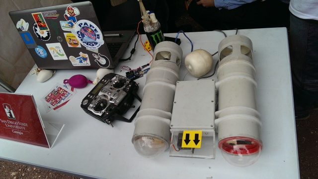 A remote controlled submersible made by students on display at the Scientific Picnic at Vake Park in Tbilisi