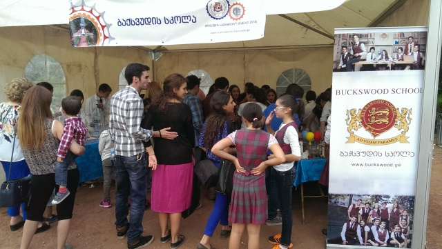 An exhibitor's tent at the Scientific Picnic at Vake Park in Tbilisi