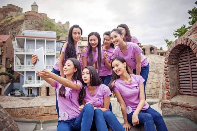 Miss Chinese Cosmos Pageant contestants at Tbilisi's Bath district