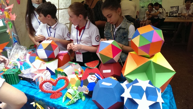 Students at the Scientific Picnic at Vake Park in Tbilisi